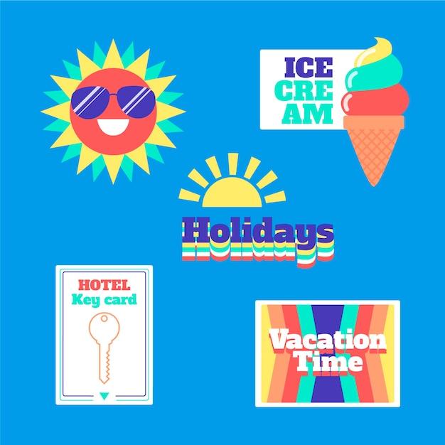 Collezione di adesivi in stile anni '70 per le vacanze Vettore gratuito