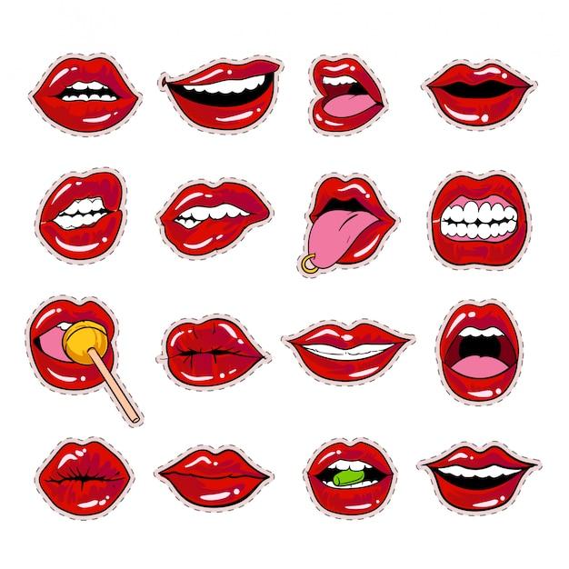 Collezione di adesivi labbra labbra bacio design Vettore Premium