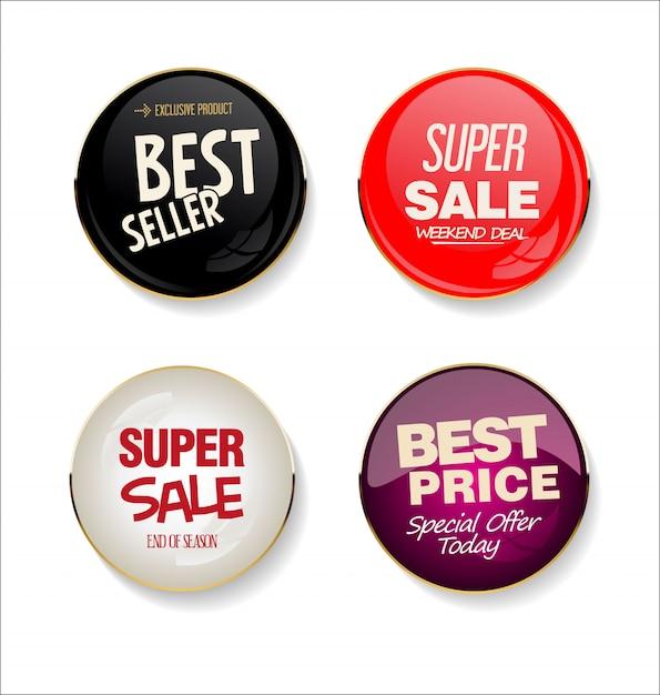 Collezione di adesivi moderni di vendita Vettore Premium