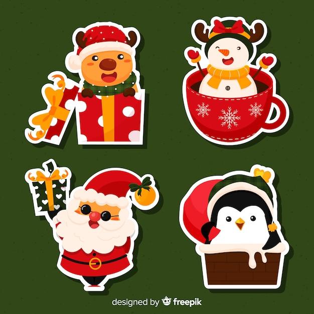 Collezione di adesivi natalizi Vettore gratuito