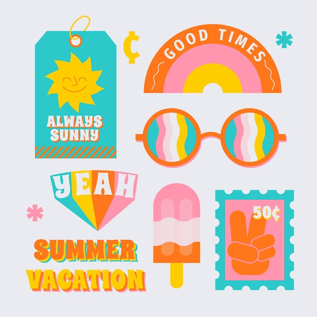 Collezione di adesivi per viaggi / vacanze in stile anni '70 Vettore gratuito