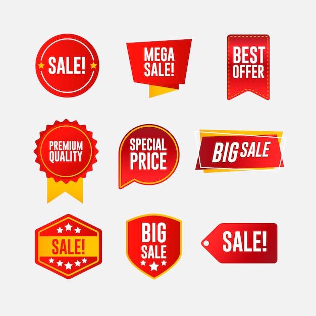 Collezione di adesivi sconto, badge Vettore Premium