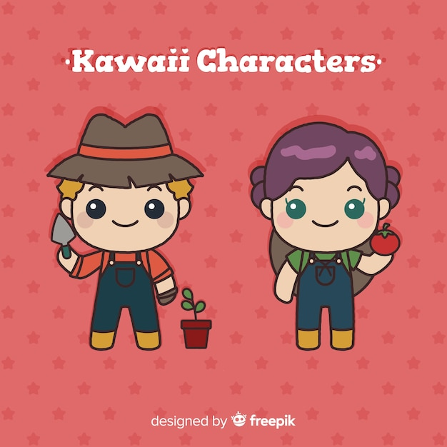 Collezione di agricoltori kawaii disegnati a mano Vettore gratuito