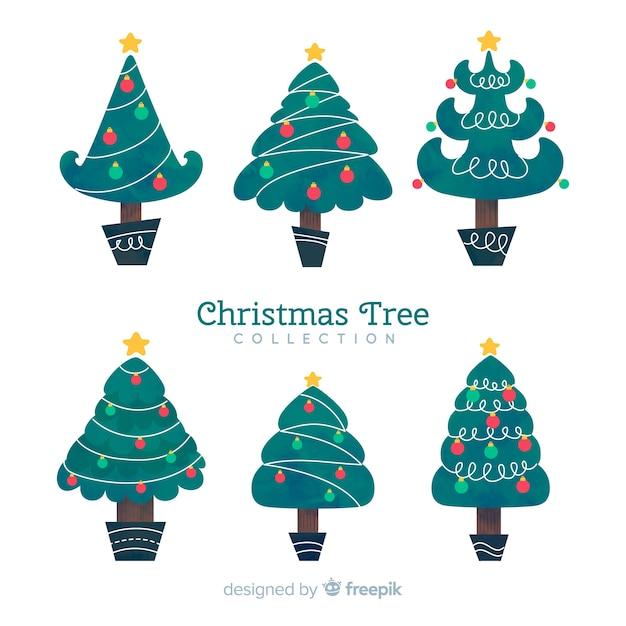 Collezione di alberi di natale Vettore gratuito