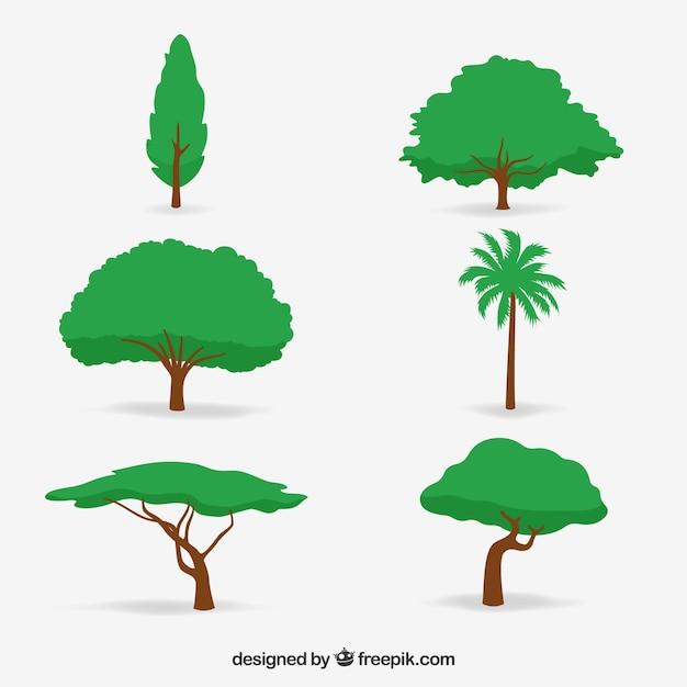 Collezione di alberi in stile 2d Vettore gratuito