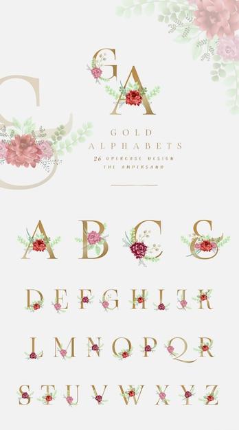 Collezione di alfabeto d'oro con ornamenti floreali Vettore Premium