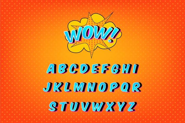 Collezione di alfabeto in fumetto 3d Vettore gratuito