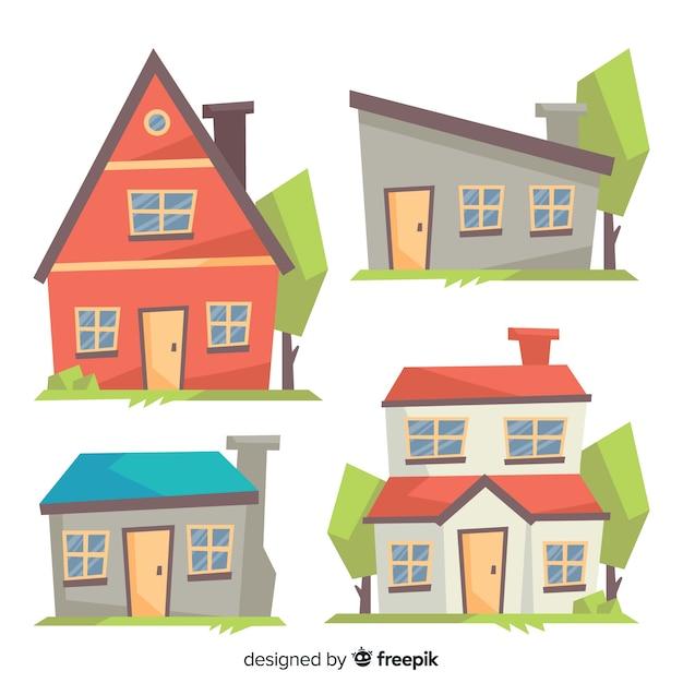 Collezione di alloggi colorati con stile cartoon Vettore gratuito
