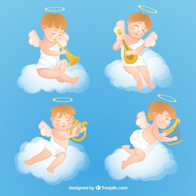 Super Collezione di angeli di Natale con strumenti musicali | Scaricare  JP07