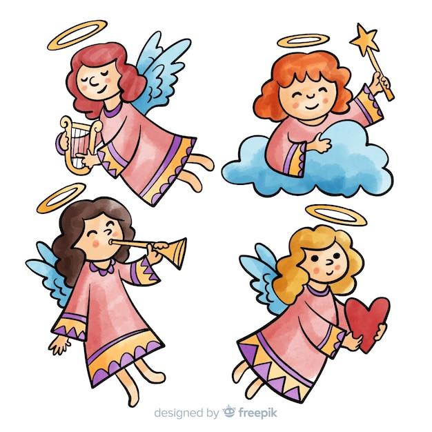 Collezione di angeli ragazza dell'acquerello Vettore gratuito
