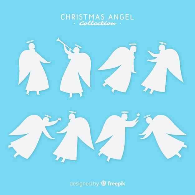 Collezione di angelo di natale in stile piatto Vettore gratuito
