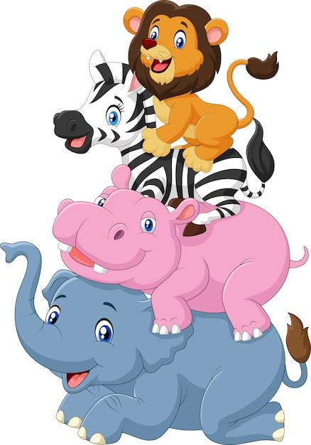 Collezione di animali africani Vettore Premium