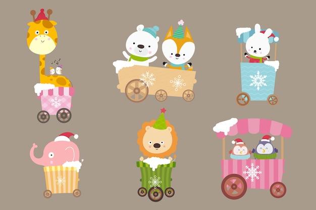 Collezione di animali cartoon sul carrello Vettore Premium