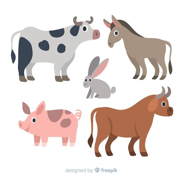 Collezione di animali da fattoria design piatto Vettore gratuito
