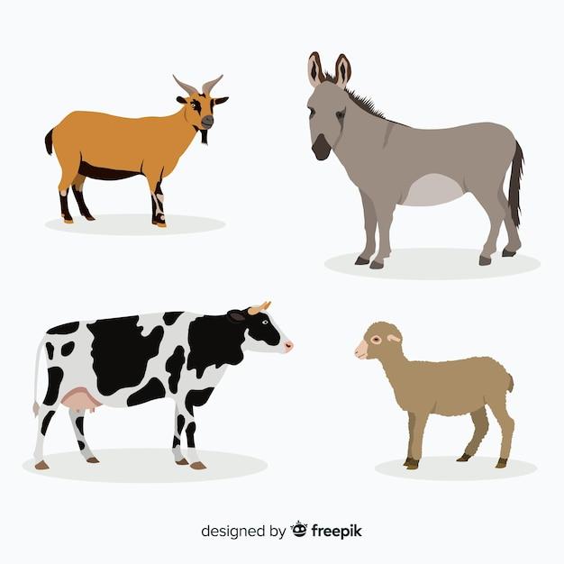 Collezione di animali da fattoria in stile piatto Vettore gratuito