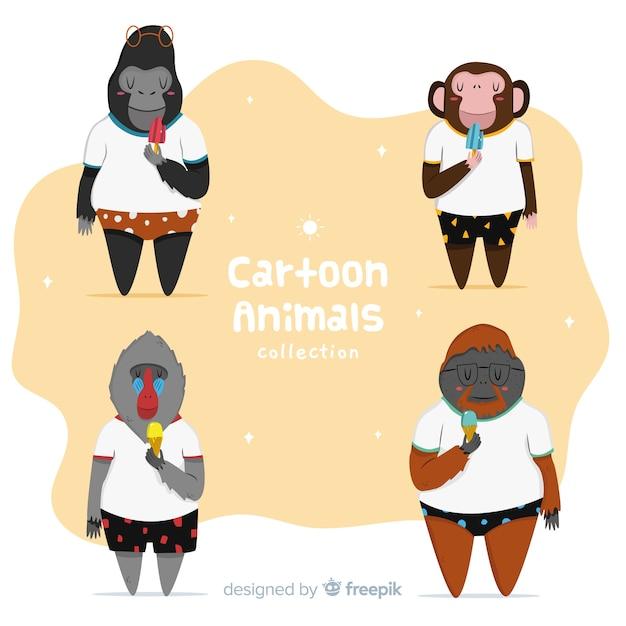 Collezione di animali del fumetto giungla Vettore gratuito