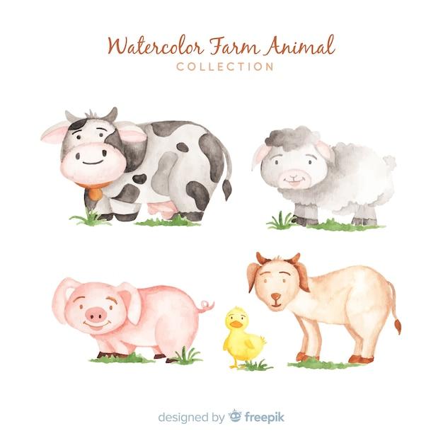 Collezione di animali della fattoria dell'acquerello Vettore gratuito
