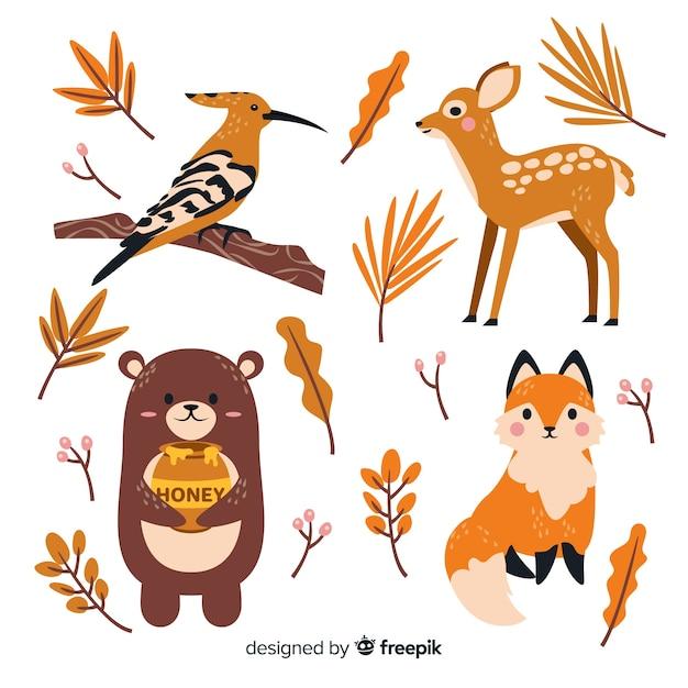 Collezione di animali della foresta di autunno disegnata a mano Vettore gratuito