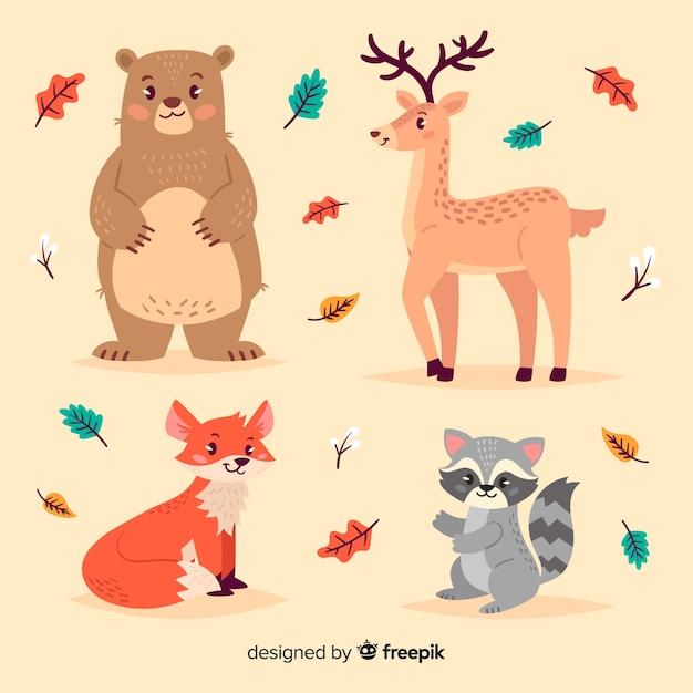 Collezione di animali della foresta disegnati a mano Vettore gratuito