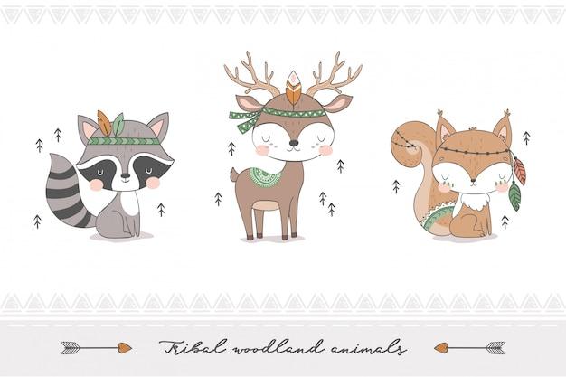 Collezione di animali della foresta tribale. Vettore Premium