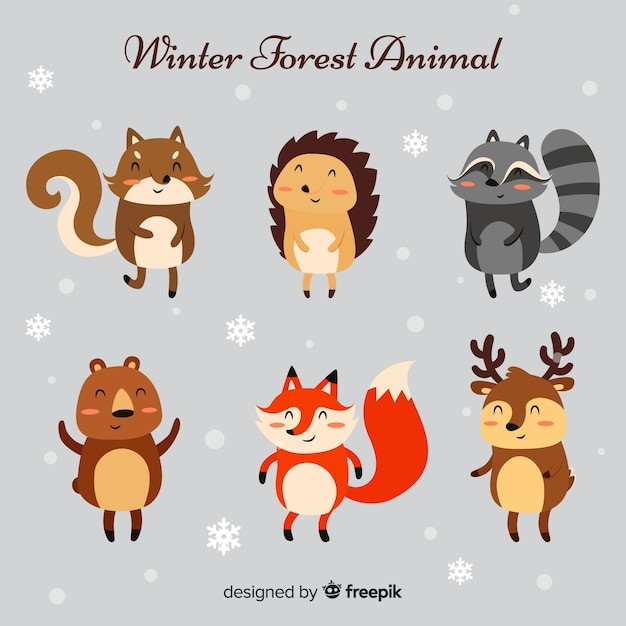 Collezione di animali invernali Vettore gratuito