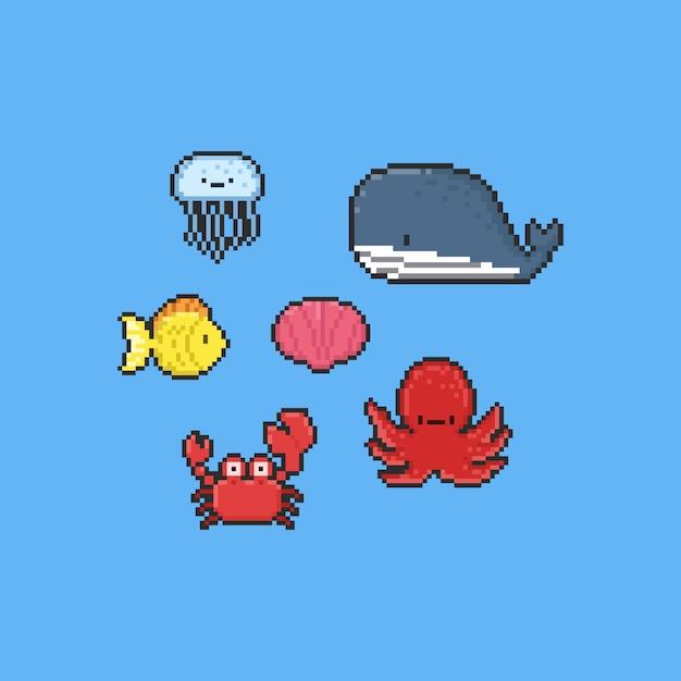 Collezione di animali marini del fumetto di pixel Vettore Premium