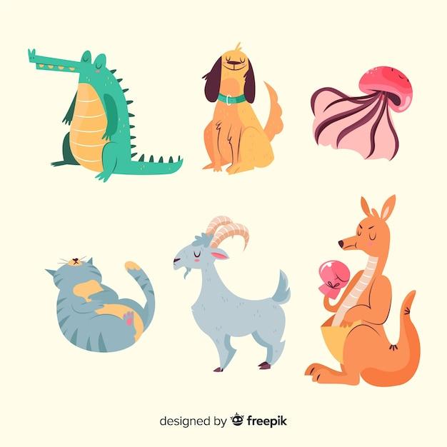 Collezione di animali simpatico cartone animato Vettore gratuito