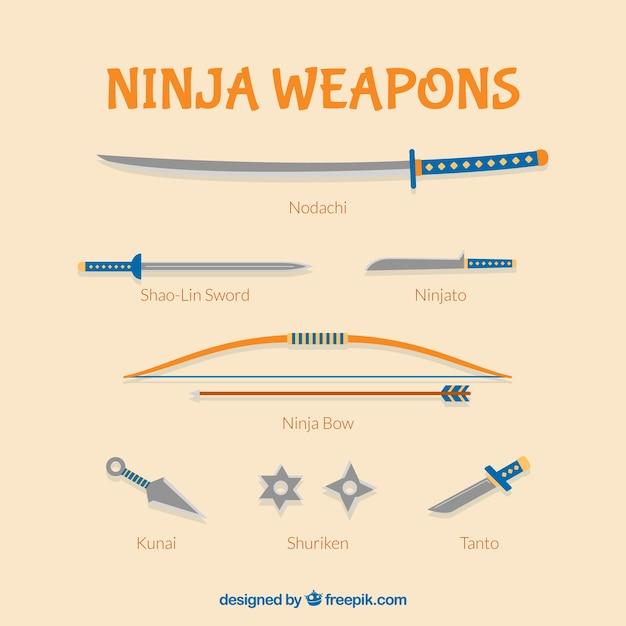 Collezione di armi ninja Vettore gratuito