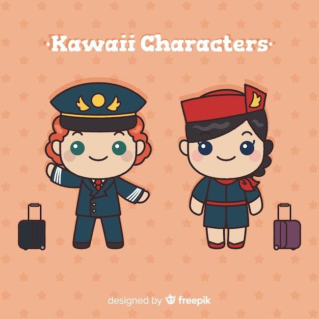 Collezione di assistenti di volo kawaii disegnati a mano Vettore gratuito