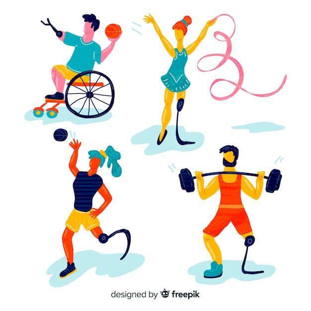 Collezione di atleti disabili disegnata a mano Vettore gratuito