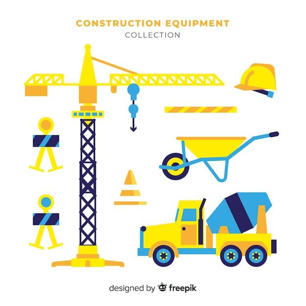 Collezione di attrezzature per l'edilizia piane Vettore gratuito