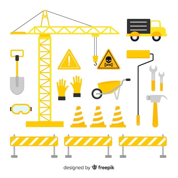 Collezione di attrezzature per l'edilizia Vettore gratuito