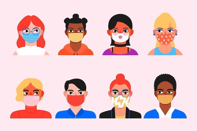 Collezione di avatar di persone che indossano maschere mediche Vettore gratuito