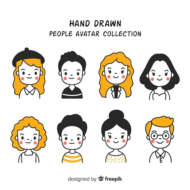 Collezione di avatar di persone dei cartoni animati Vettore gratuito