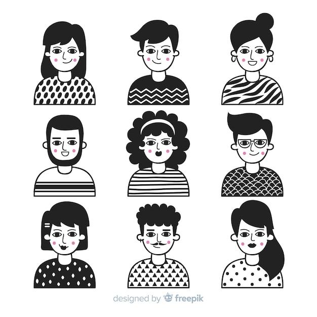 Collezione di avatar di persone disegnate a mano Vettore gratuito