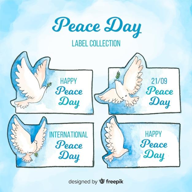 Collezione di badge acquerello giornata della pace Vettore gratuito