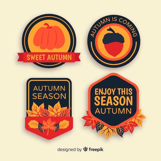 Collezione di badge autunno disegnato a mano Vettore gratuito