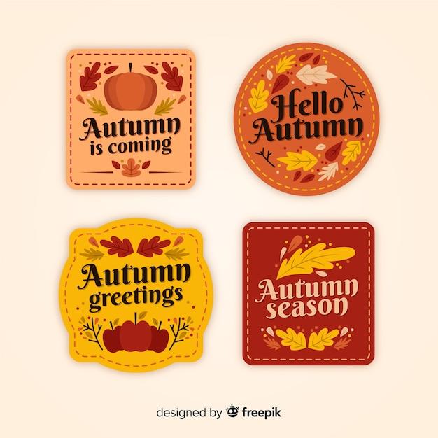 Collezione di badge autunno vintage Vettore gratuito