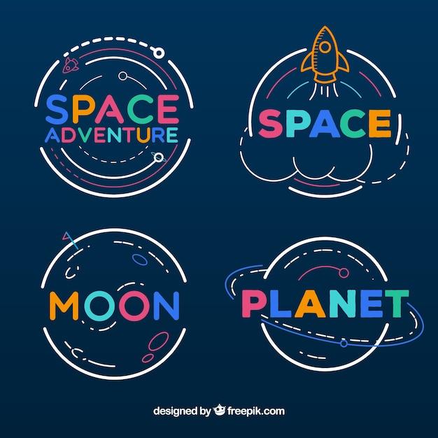 Collezione di badge avventura spaziale Vettore gratuito