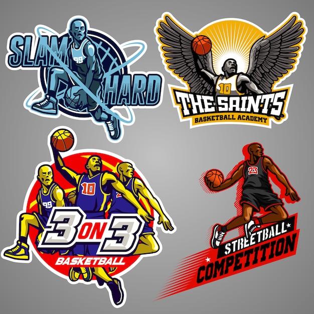 Collezione di badge basket Vettore Premium
