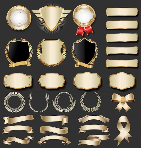 Collezione di badge d'oro di lusso Vettore Premium
