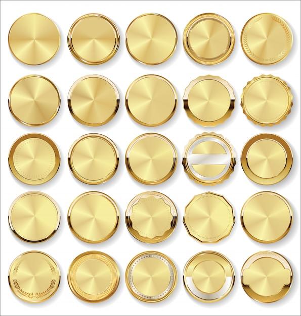 Collezione di badge d'oro ed etichette in stile retrò Vettore Premium