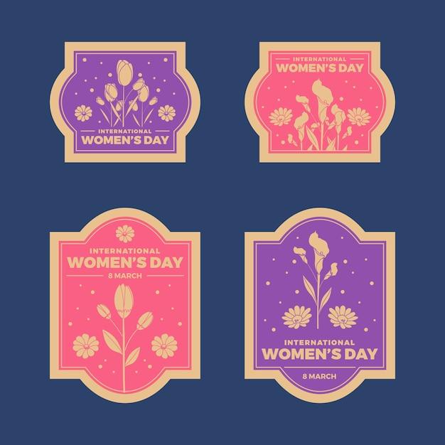 Collezione di badge da donna vintage Vettore gratuito