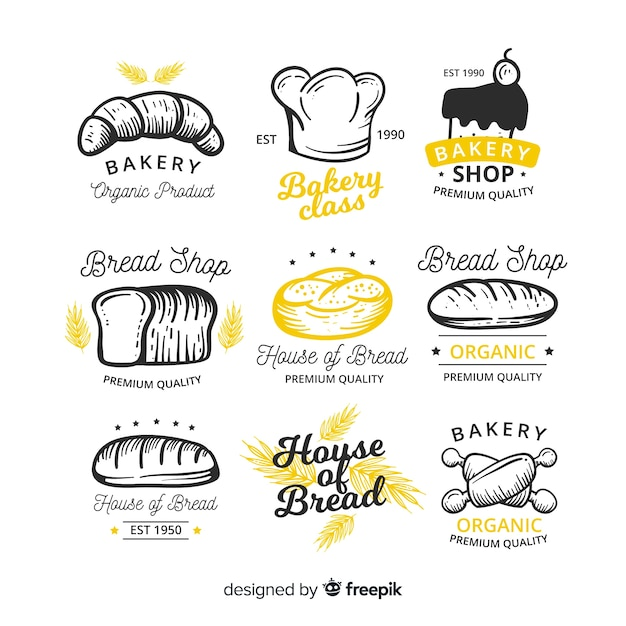 Collezione di badge da forno disegnata a mano Vettore gratuito