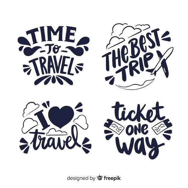 Collezione di badge da viaggio calligrafici Vettore gratuito