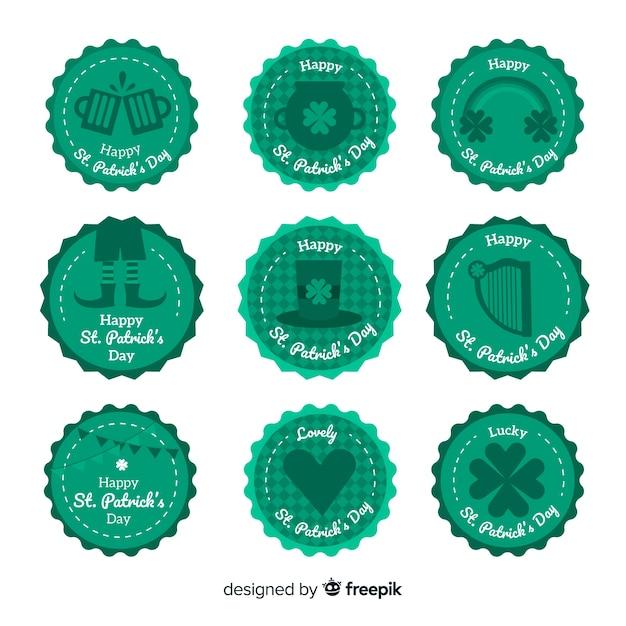 Collezione di badge del giorno di san patrizio Vettore gratuito