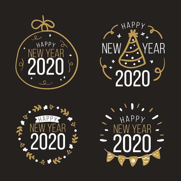 Collezione di badge del nuovo anno 2020 disegnata a mano Vettore gratuito