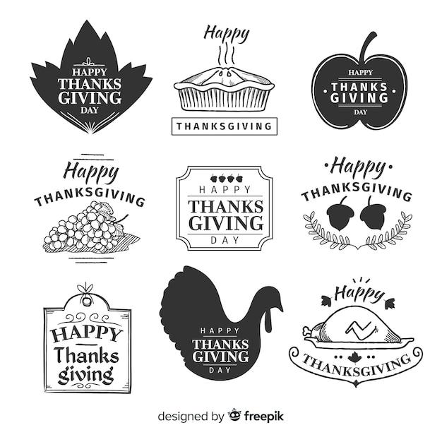 Collezione di badge del ringraziamento disegnati a mano Vettore gratuito