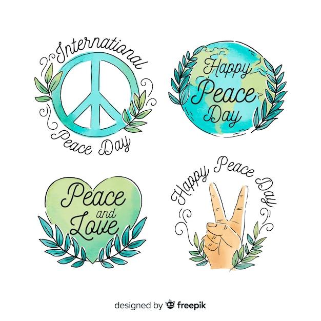 Collezione di badge dell'acquerello giorno della pace Vettore gratuito