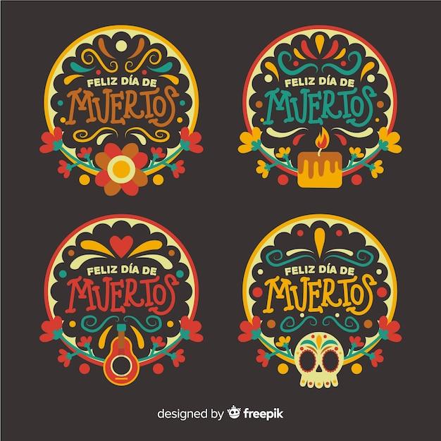 Collezione di badge design día de muertos Vettore gratuito